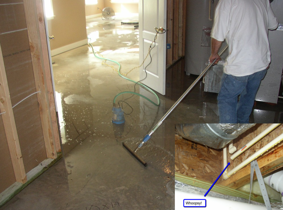flooded basement clean up from an unglued fitting