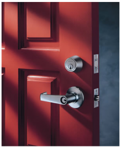 red door with a dead bolt installed
