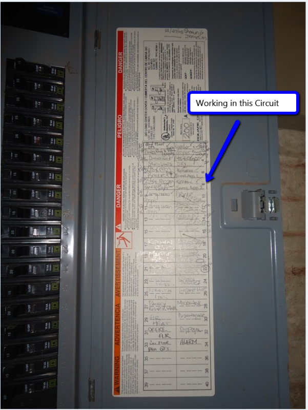 Breaker Panel Circuits Labeled