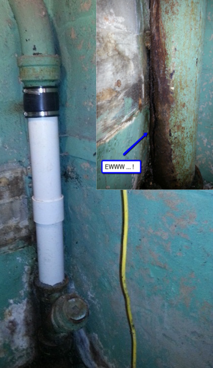 repairing a cast iron pipe with pvc