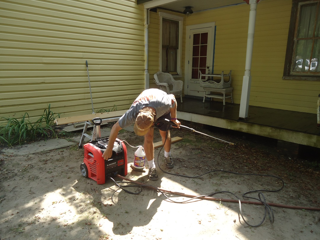 firing up pressure washer