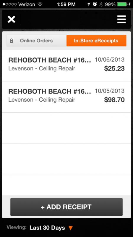HD Pro App Receipts