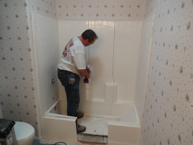 tub bathroom installing and handyman all remove instub acrylic remodeling the a photo view install family an surround