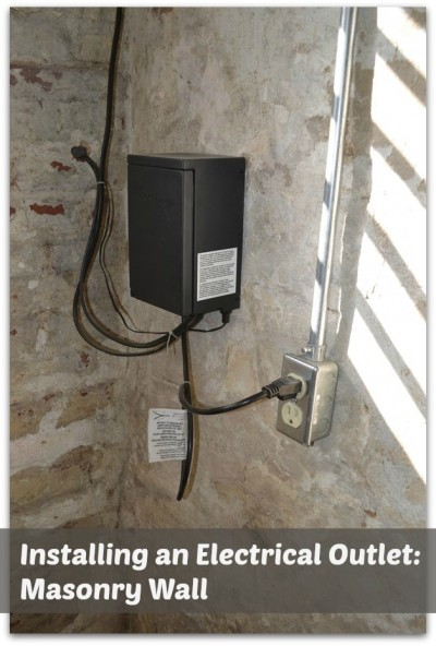 Installing an electrical outlet on a Masonry Wall @ BuildingMoxie.com