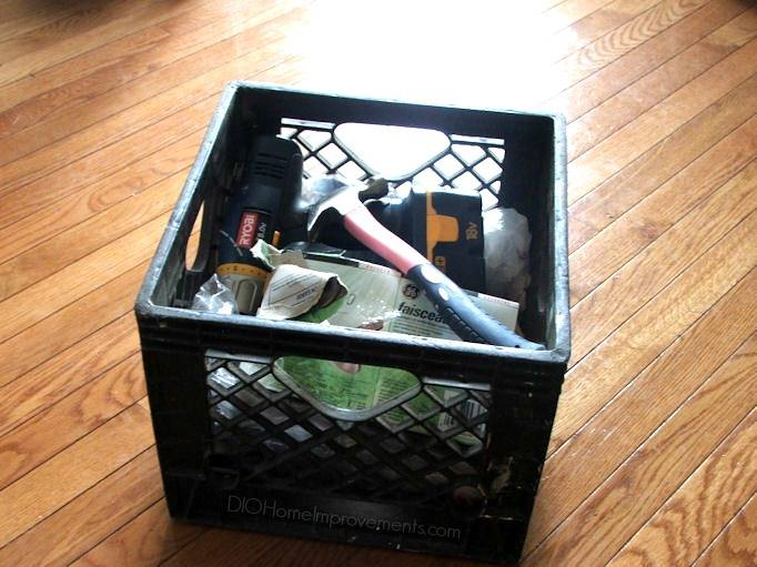 Milk Crate for Holding Tools