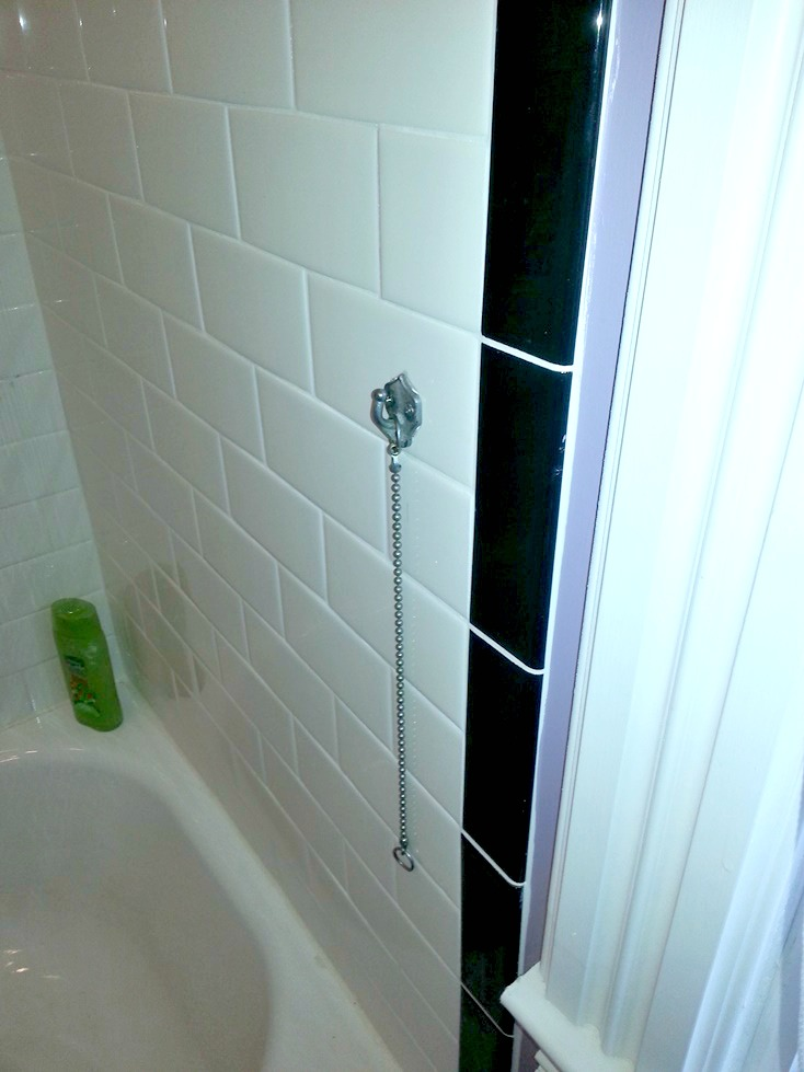 shower curtain tie back hanging