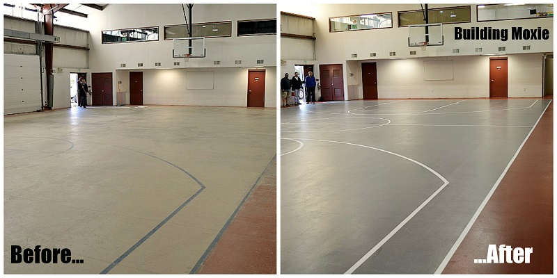 before and after painting a basketball court