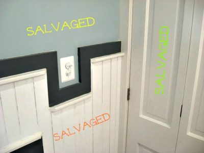 Wainscoating Custom Routed Cap Salvaged Door