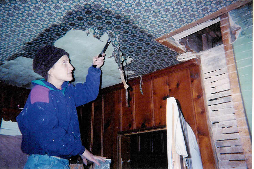 stripping antique wallpaper from a ceiling
